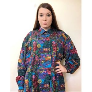 Vintage Abstract Cathedral Silk Button Up Blouse